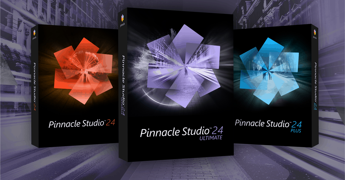 Pinnacle Studio 24 product family box shots.