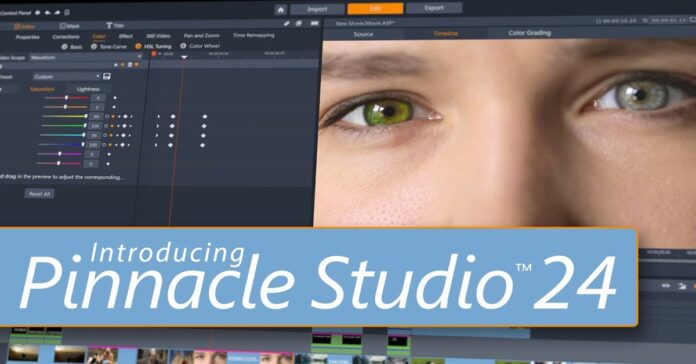 Pinnacle Studio 24 new release announcement video thumbnail.