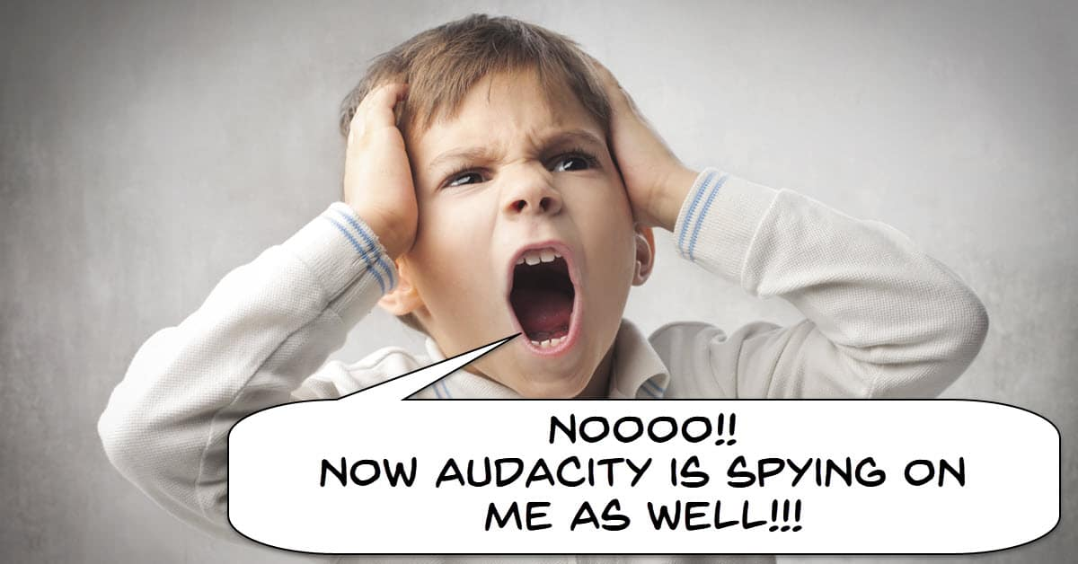 Humorous image of boy complaining about spyware.