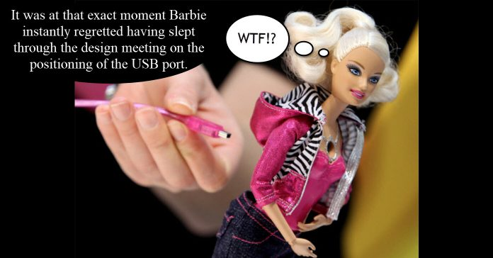 Barbie doll toy with inbuilt video camera.