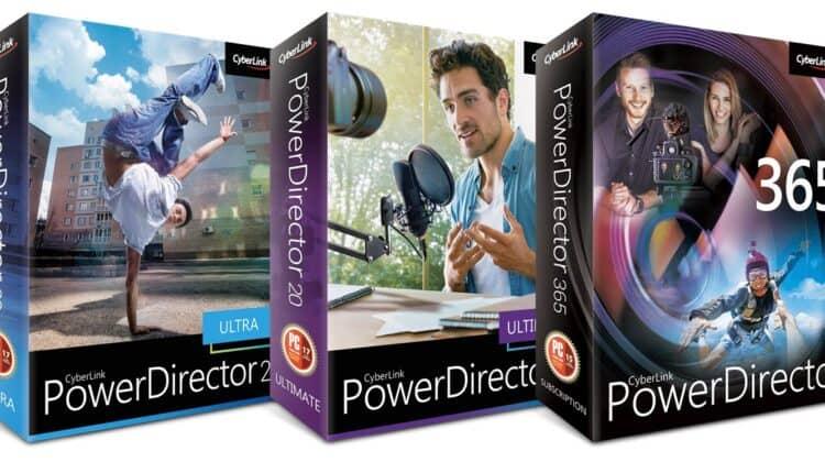 Box shots of the PowerDirector 20 / 365 range.