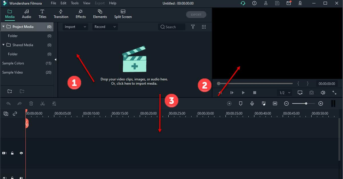 Filmora X user interface