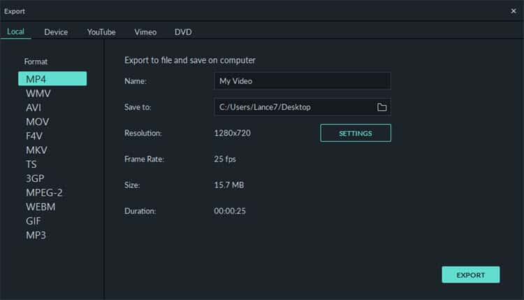 Video export module in Filmora9.