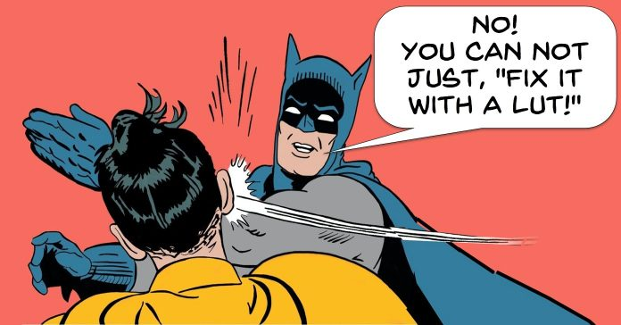 Image of Batman slapping Robin at the suggestion that anything can be fixed with a LUT.