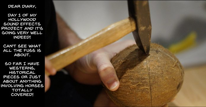 Hammer hitting a coconut being prepared to use as an audio effect.