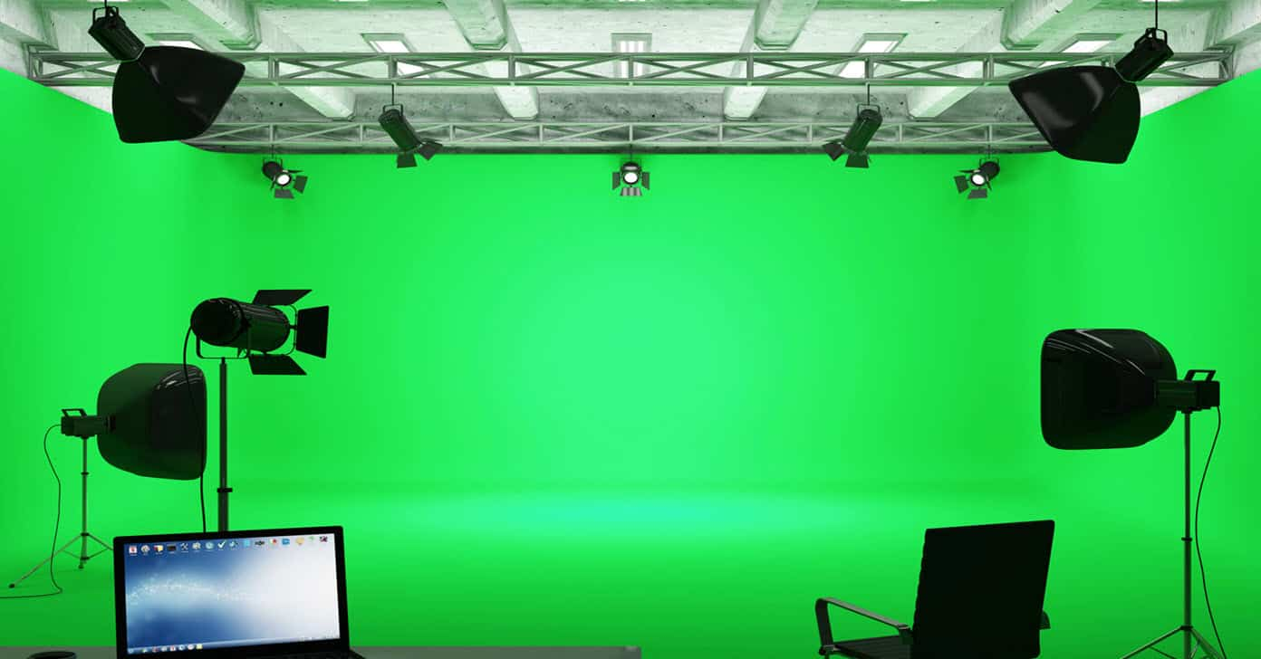 Image of a fully set up green screen studio