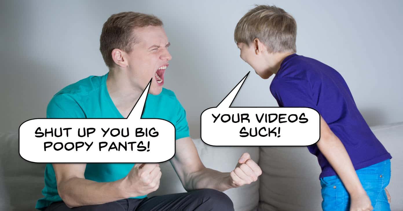 Image of a boy and man yelling at each other one criticizing the others video.