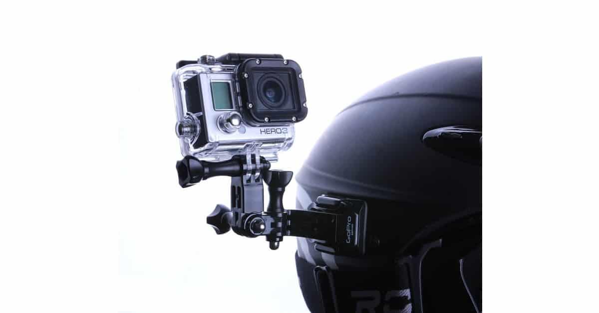 Image of a helmet mounter Gopro action camera