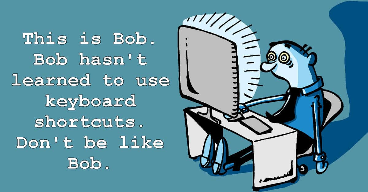 Cartoon image to encourage using keyboard shortcuts for video editing.