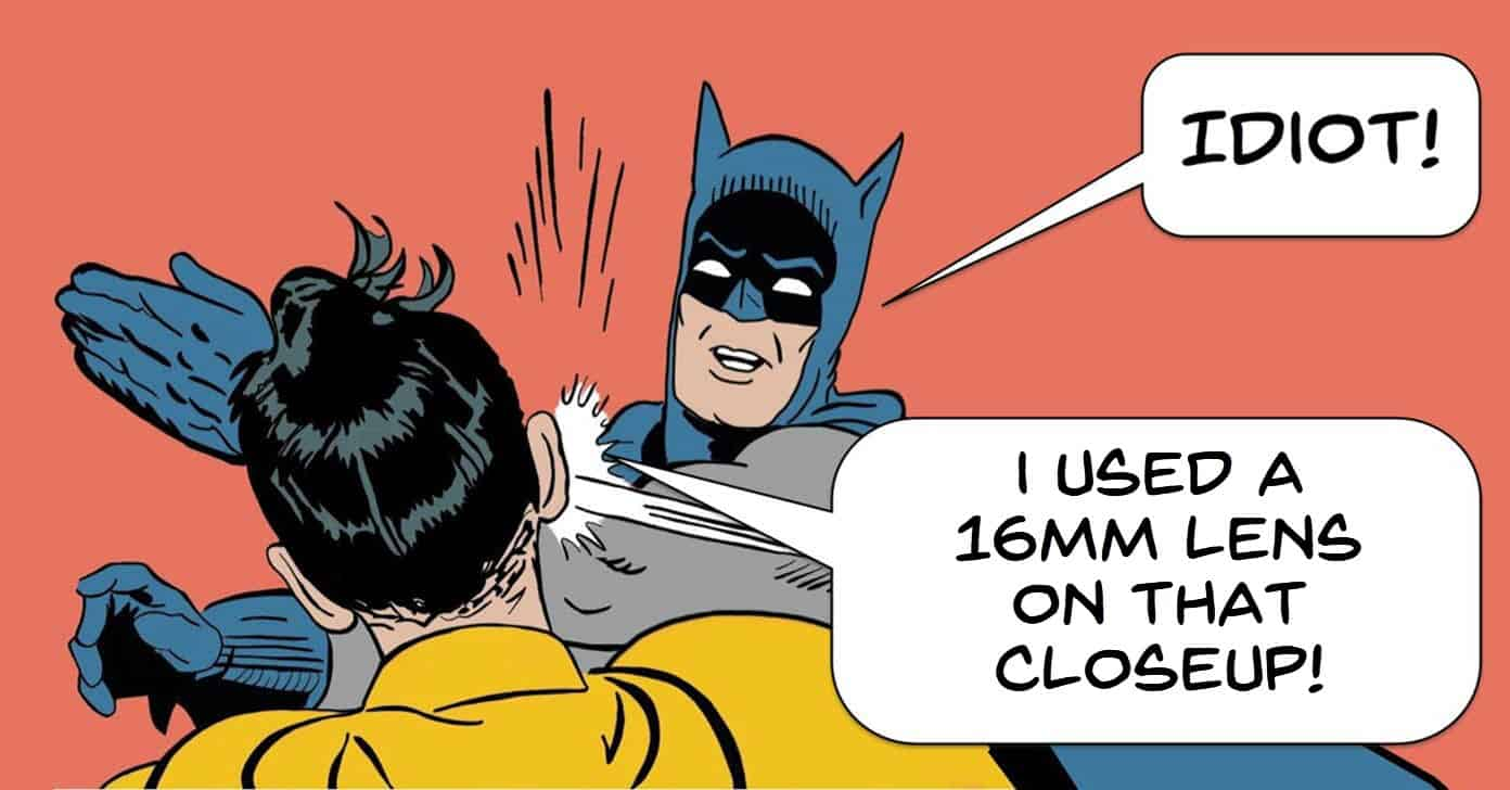 Humor. Batman criticizing Robin for using the wrong lens.