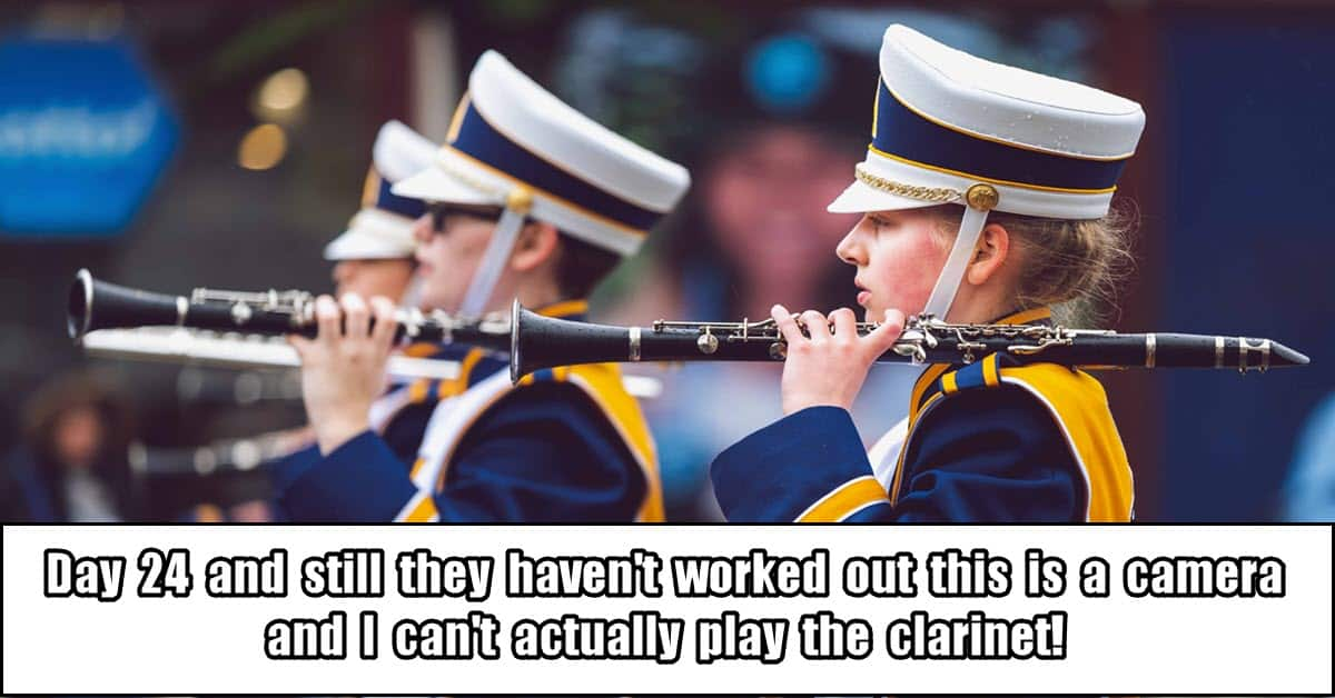 Marching band girl with clarinet.