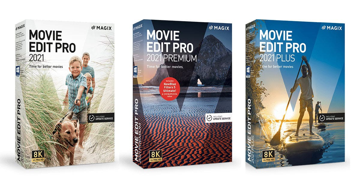 Magix Movie Edit Pro product range boxes.