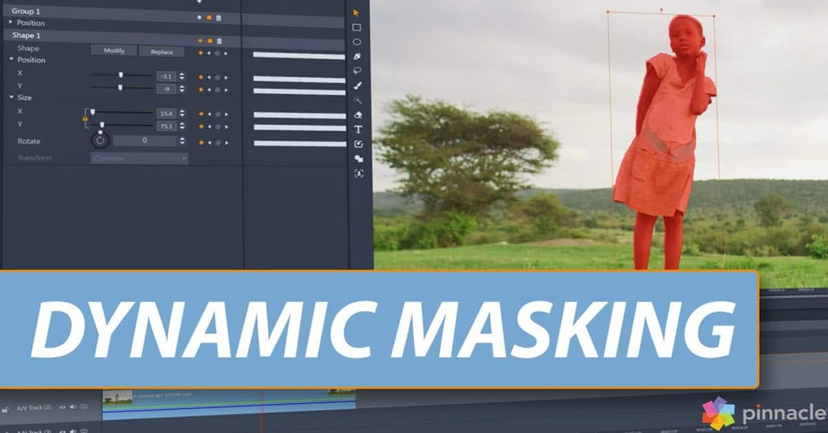 Product image for the Pinnacle Studio Dynamic Masking feature.