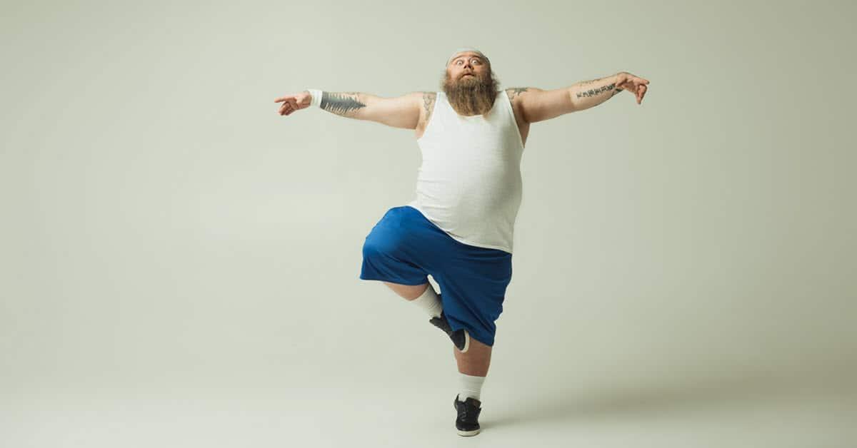 Humorous image of man posing.
