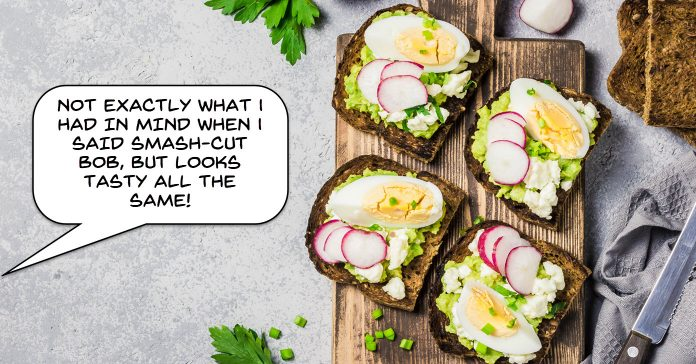 Image of smashed avocados as a humorous reference to smash cuts.