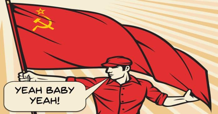 Image of retro soviet worker using Austin Powers catchphrase.