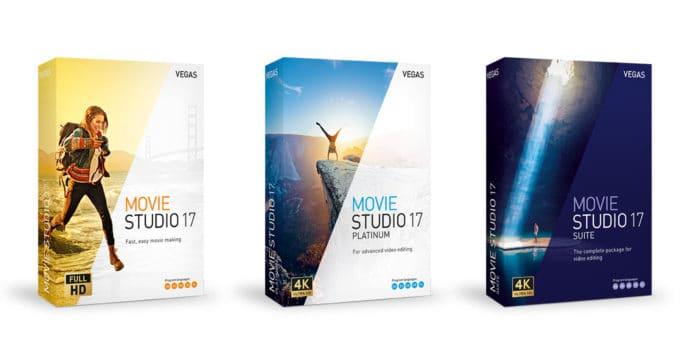 Box shots of the Vegas Movie Studio 17 product range.