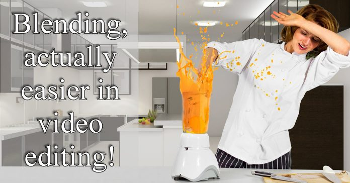 Humorous image of woman having accident with a blender with text indicating video blend modes are easier.