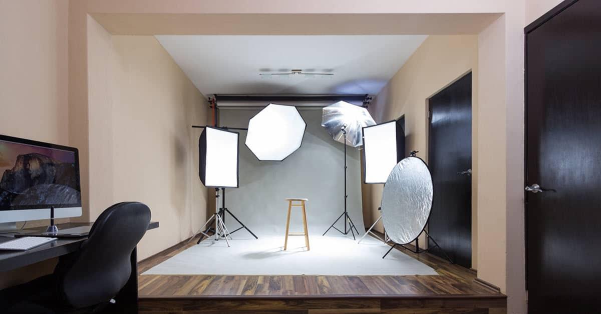 Various reflectors in a video studio setting.