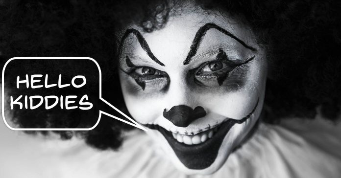 Image of evil clown reference to YouTube child privacy changes.