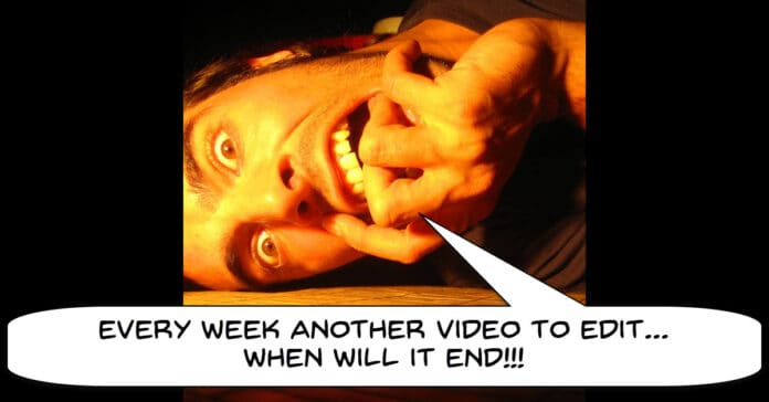 Humorous image of man going crazy editing videos.
